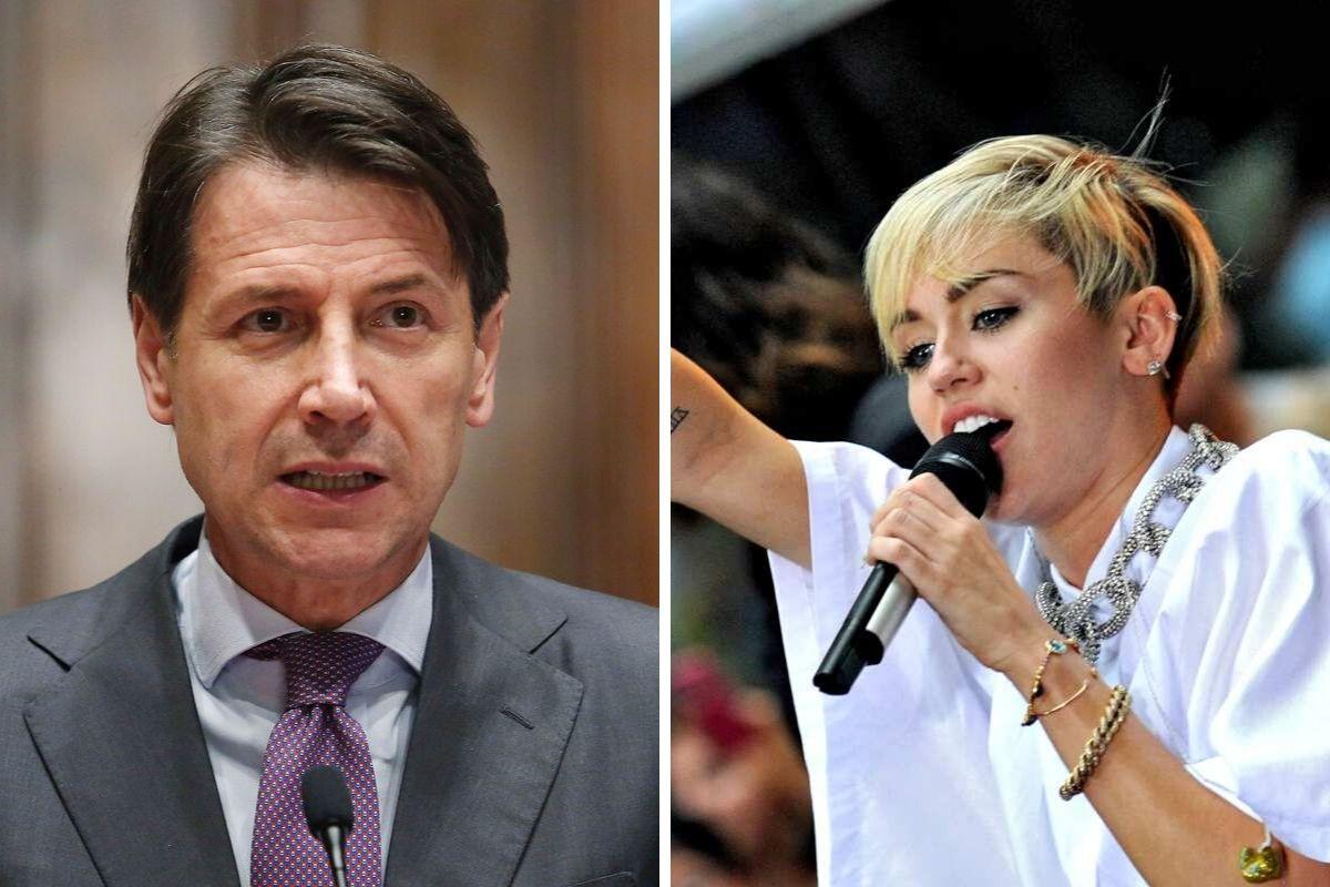 Giuseppe Conte e Miley Cyrus